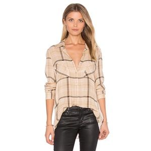 NWT L'agence Cream Brown Denise Button Down Top